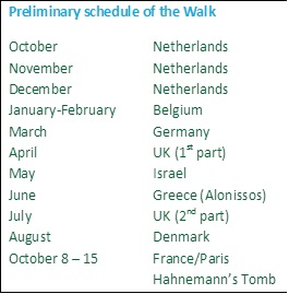 Preliminary schedule of the Walk